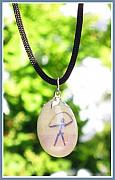Hand Painted Jewelry - MYSTICAL holistic Indalo pendant by Melanie Bourne