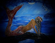 Picture Of Mermaid Posters - Mystical Midnight Mermaid Series 2 Poster by Leslie Allen
