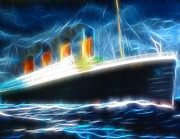 Boat Cruise Drawings Prints - Mystical Titanic Print by Paul Van Scott