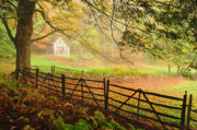 Split Rail Fence Photo Prints - Mystique - A Connecticut Autumn scenic Print by Thomas Schoeller