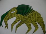 Gond Art Art - Mythical Creature Dsu 13 by Dhavat Singh