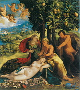 Fine Art  Of Women Painting Posters - Mythological Scene Poster by Dosso Dossi