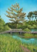 New England. Pastels Prints - Mytoi Bridge Print by Lisa Kretchman