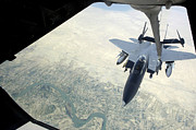 Baghdad Framed Prints - N F-15e Strike Eagle Receives Fuel Framed Print by Stocktrek Images