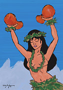 Hawaiian Art Pastels Prints - Na auao Hula Girl  Print by William Depaula