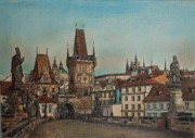 Prague Pastels Originals - Na Karlovem moste by Gordana Dokic Segedin