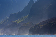 Rugged Posters - Na Pali Morning Mist Poster by Mike  Dawson