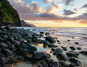 Hawai Prints - Na Pali Sunset Print by Adam Pender