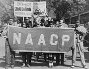 Naacp Framed Prints - Naacp Banner Is Held By Protesters Framed Print by Everett