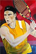 Racket Framed Prints - Nadal Framed Print by Flavia Lundgren