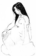 Long Hair Drawings - Nadia 2 by Joanne Claxton