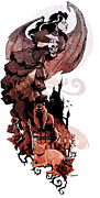 Halloween Digital Art Metal Prints - Nadjas flight Metal Print by Brian Kesinger