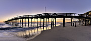 Beach Photographs Posters - Nags Head Fishing Pier at Sunrise - Outer Banks Scenic Photography Poster by Rob Travis