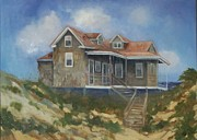 Outer Banks Paintings - Nags Head NC Beach Cottage by Lisa Godfrey