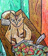 Heather Lennox - Naive Cat with Apples