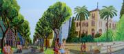 Street Sculptures - Naive Painting Of Tel Aviv City By Raphael Perez Israeli Artist by Raphael Perez