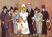Naive Wedding Large Family White Bride Black Groom Red Women Girls Brown Men With Hats And Flowers Print by Rachel Hershkovitz