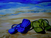 Flip-flops Paintings - Naked Feet on the Beach by Patti Schermerhorn