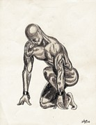 African American Man Drawings Prints - Naked Man Print by Shawn Williams