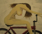 Girl On Bike Framed Prints - Naked on a bike Framed Print by Nick  Kenworthy
