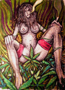 Stockings Pastels Posters - Naked With Green And A Hit Of Pink Poster by Sam Hane