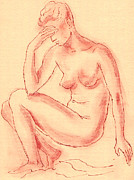 Voluptuous Drawings Prints - Naked Woman Print by Aljo Beran