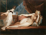Fine Art  Of Women Painting Prints - Naked Woman and Woman playing the Piano Print by Johann Heinrich Fussli