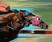 Horse Race Paintings - Nakita By A Head by David Wagner