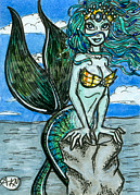 Siren Drawings - Nala Mermaid ACEO by Faerydae