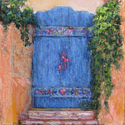 Adobe Building Pastels Posters - Namaste Gate Poster by Julia Patterson
