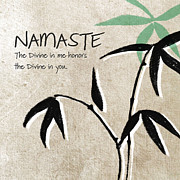 Green Mixed Media Posters - Namaste Poster by Linda Woods