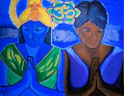 Namaste Painting Framed Prints - Namaste-we are one Framed Print by Lisa Brandel