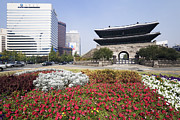 Office Space Prints - Namdaemun Gate with Flowers in Foreground Print by Jeremy Woodhouse