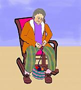 Abuela Posters - Nana Knitting Poster by Pharris Art