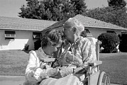 Nancy Prints - Nancy Reagan Visits Her Elderly Mother Print by Everett