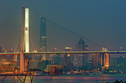 Shanghai Prints - Nanpu Bridges At Sunset In Shanghai Print by Blackstation