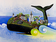Nantucket Paintings - Nantucket - A Whale of a Town by Theresa LaBrecque