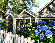 New England Digital Art Framed Prints - Nantucket Cottage No.1 Framed Print by Tammy Wetzel