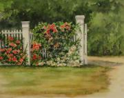 Nantucket Paintings - Nantucket Fence Number 7 by Andrea Birdsey Kelly
