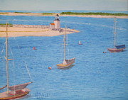 Nantucket Paintings - Nantucket Lighthouse - a View From the Ferry III by Jack McKenzie