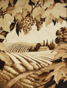 Napa Valley Vineyard Pyrography - Napa Harvest by Cate McCauley