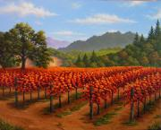 California Vineyard Paintings - Napa Hills in Fall by Patrick ORourke