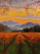 California Vineyard Paintings - Napa in Fall by Patrick ORourke