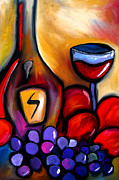 Wine Mixed Media Prints - Napa Mix - Abstract Wine Art by Fidostudio Print by Tom Fedro - Fidostudio