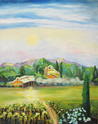 Vineyard In Napa Painting Posters - Napa Moon Poster by Barbara Anna Knauf