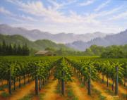 Napa Valley Vineyard Paintings - Napa Valley Barn in Summer by Patrick ORourke