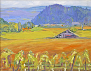 Napa Valley And Vineyards Painting Metal Prints - Napa Valley Mountains Metal Print by Barbara Anna Knauf