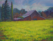 Red Barn Paintings - Napa Valley Mustards and Red Barn by Deirdre Shibano