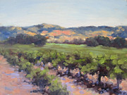 California Vineyard Painting Metal Prints - Napa Valley Vineyard Metal Print by Alice Weil