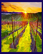 Napa Valley Vineyard Digital Art Framed Prints - Napa Valley Vineyard Framed Print by Dyana  Jean